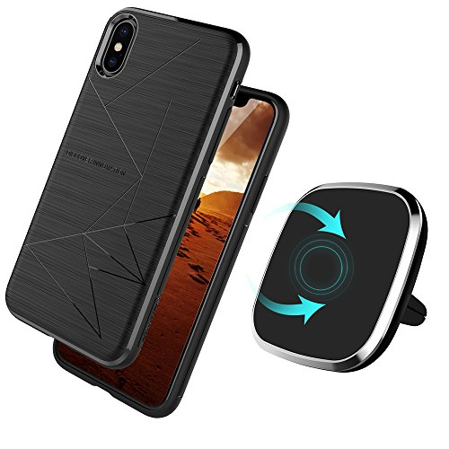 Price comparison product image Qi Wireless Charger With Apple iPhone X Magic Case Included-Vent Mounted 2-in-1 Magnetic Charging Pad For iPhone X, 360 Degree Rotation, Strong Magnetic Holder