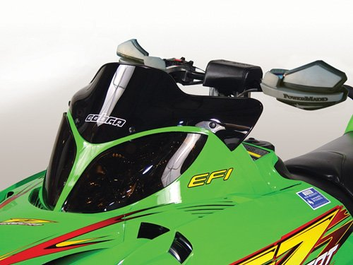 (PowerMadd 12410 Cobra Windshield for Arctic Cat Firecat - Black - Extreme low height)