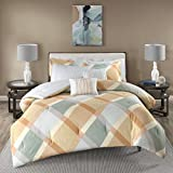 5 Piece Coral Orange Grey Off White Checkered Diamond Plaid Themed Flannel Comforter Twin Set, Beautiful Geometric Checker Bedding, Chic Reverse Windowpane Theme Pattern, Cotton