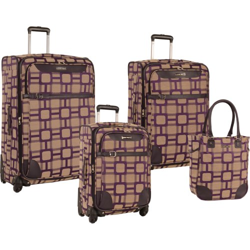 Ninewest 4 Piece Spinner Luggage Set, Purple ()