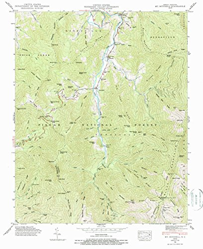 YellowMaps Mt Mitchell NC topo map, 1:24000 Scale, 7.5 X 7.5 Minute, Historical, 1946, Updated 1988, 26.8 x 21.8 in - Paper ()