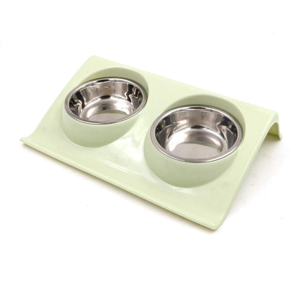 Green Faskt Double Dog Cat Bowls Premium Stainless Steel Pet Bowls No-Spill Resin Station, Food Water Feeder Cats Small Dogs (color   Green)