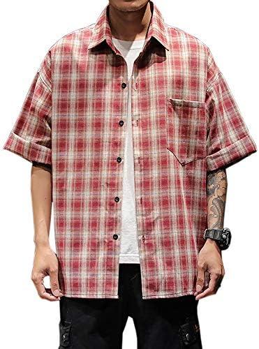 【在庫整理セール】半袖シャツ チェック メンズ 五分袖 tシャツ ワイシャツ yシャツ 大きいサイズ M-5XL ゆったり カジュアルシャツ 快適 ファッション コットン