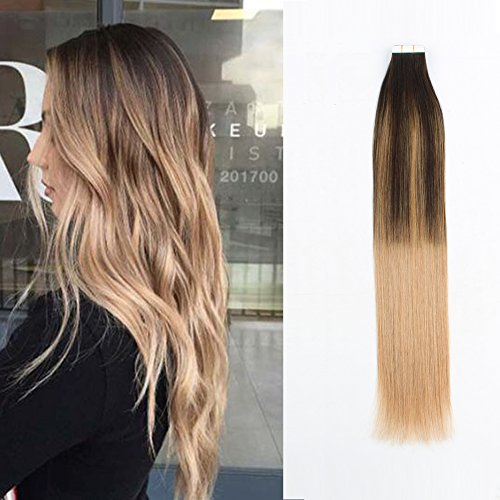 Ash Set Dresser - Sassina Remy Tape in Human Hair Extensions Seamless Skin Wefts Double Side Mixed Color Balayage Dark Brown Fading to Ash Blonde 20pcs/set (B2-18 14