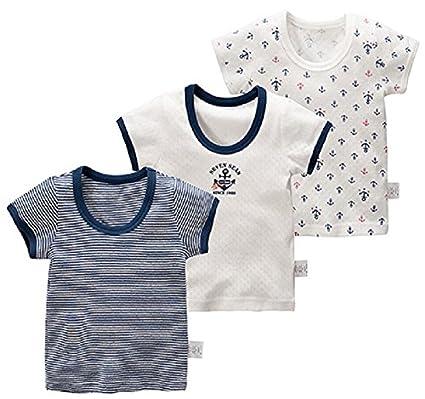 9d66f63b6d571 Zetoon ボーイズ 半袖シャツ 男の子 子供服 ジュニア ボーダー 3枚セット インナーシャツ 半袖インナー