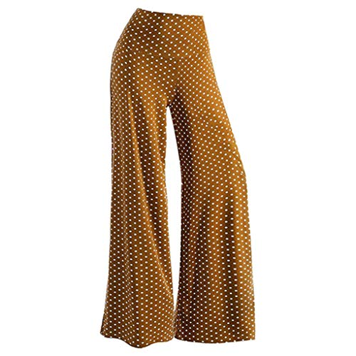 (iYBUIA Women's Casual Solid Dot Stretchy Wide Leg Palazzo Lounge Pants(Brown,XXXL))