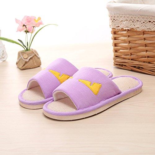 Y-Hui Playa primavera y verano zapatillas zapatillas Home Furnishing par Lino Apertura del suelo Anti-Skid zapatillas,36/37,color lila