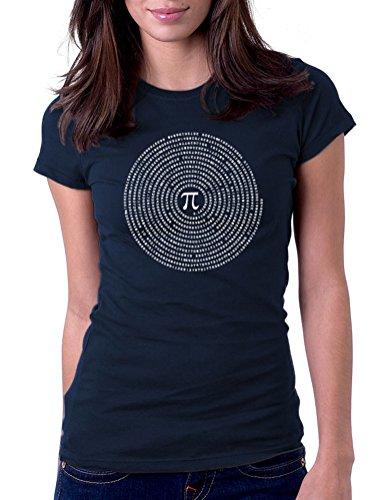Pi Math Circle - Womens Tee T-Shirt, Small, Navy