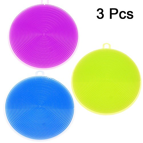 3 Pack Amhii Silicone Scrubbers Sponge for Cleaning Dishes -Antibacterial, Food-grade, Mildew-Free, Non Stick Dishwashing Cloth Brushes