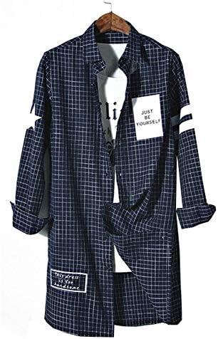 (ジュンィ) メンズ ロング丈 デザインシャツ 長袖 チェック ゆったり ワイシャツ カジュアル コート 春 秋 個性