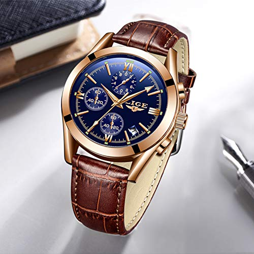 Men Watches Business Casual Leather Quartz Analog Waterproof Watch Gents Luxury Brand LIGE Watch Sport Chronograph Blue Business Dress Wristwatch Men