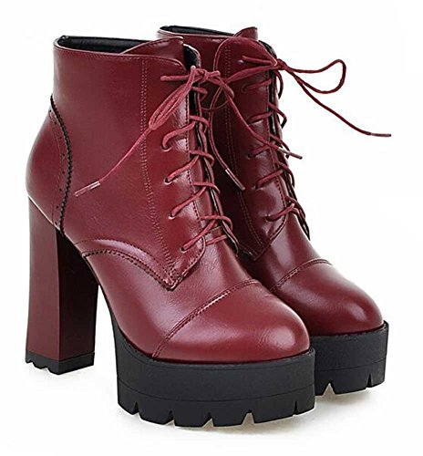 CHFSO Womens Stylish Solid Round Toe Lace Up High Chunky Heel Platform Boots Red k6gv8UW6m