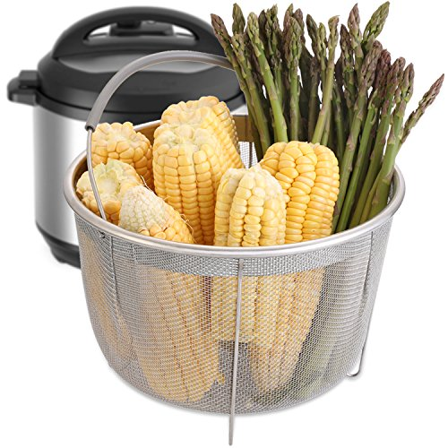 Aozita Steamer Basket for Instant Pot Accessories 8 Qt - Stainless Steel Steam Insert with Premium Silicone Handle for 8 Qt Pressure Cookers - Vegetables, Eggs, Meats, etc by Aozita (Image #4)