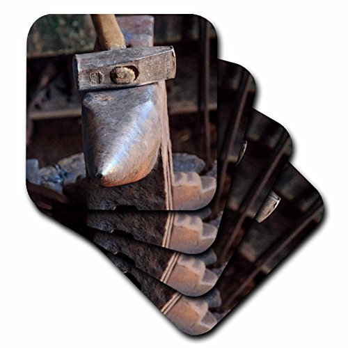 Anvil Coaster Set - 3dRose Danita Delimont - Industrial - Romania, Transylvania, Viscri, Blacksmith tools of the trade. - set of 8 Ceramic Tile Coasters (cst_277870_4)