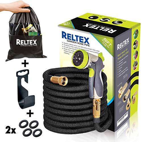 Mount Brass No Connector 3/4 (RELTEX 50 ft Garden Hose - Expandable Water Hose Nozzle -Double Latex Core,3/4 Brass Connector,8 Pattern Spray Sprinkler,Storage Bag,Hanger- Flexible Compact Lightweight Expanding Hose Kit)