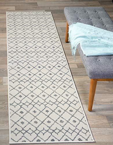 Rugshop Newbury Collection Modern Boho Design Runner Area Rug 2' x 7' - Cream Rug Runner
