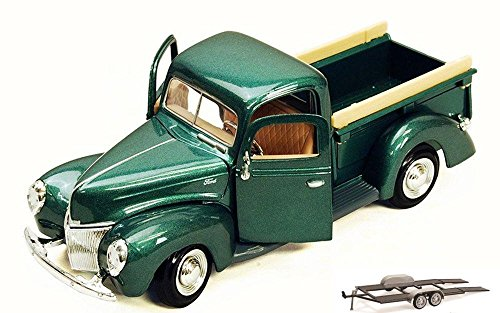 Diecast Car & Trailer Package - 1940 Ford Pick Up truck, Green - Motor Max 73234AC - 1/24 Scale Diecast Model Toy Car w/Trailer - Truck Ford 1940
