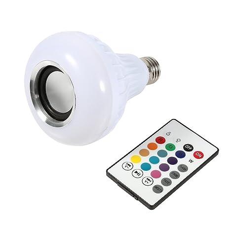 Yosoo - Bombilla LED inalámbrica con altavoz (RGB E27, 12 W, Bluetooth,