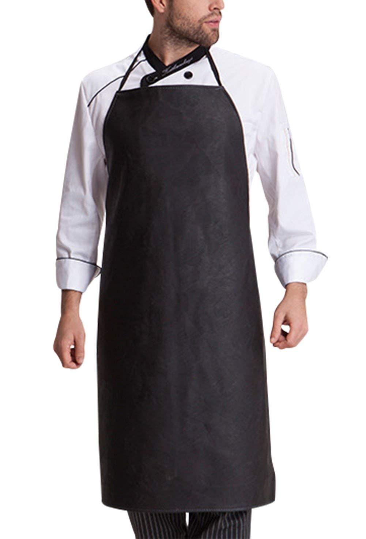 artmokiエプロンレディースメンズfor料理、Chef、キッチン、レストラン、カフェ、、グリルレザーエプロンコットンStain Oil Resistant withポケット調節可能ベルト簡単快適 – ブラック   B07FG2447H