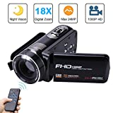 Camera Camcorder with IR Night Vision, Weton 3.0 inch LCD Touch Screen Digital Video Camera Full HD 1080p 24.0MP Pixels 18x Digital Zoom Mini DV with Remote Control (Two Batteries Included)
