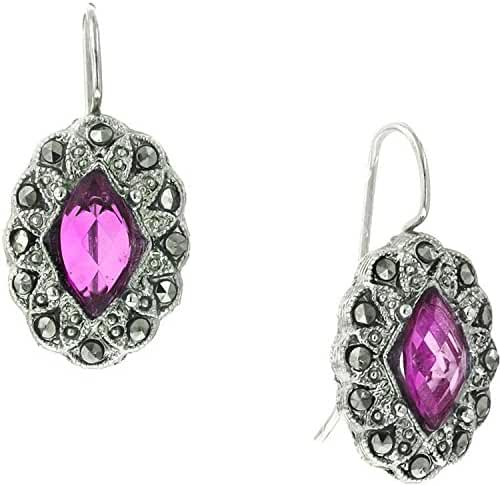 1928 Jewelry Fuchsia and Marcasite Oval Dangle Earrings
