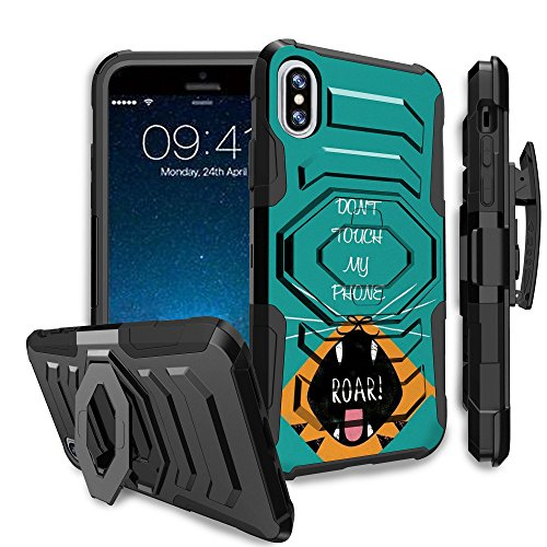 Untouchble Case for Apple iPhone X (2017) and iPhone Xs (2018) Holster Case [MAX Alpha Clip] Combat Shockproof Two Layer Belt Clip Kickstand Cover Case Protector Rugged - Don't Touch My Phone ()