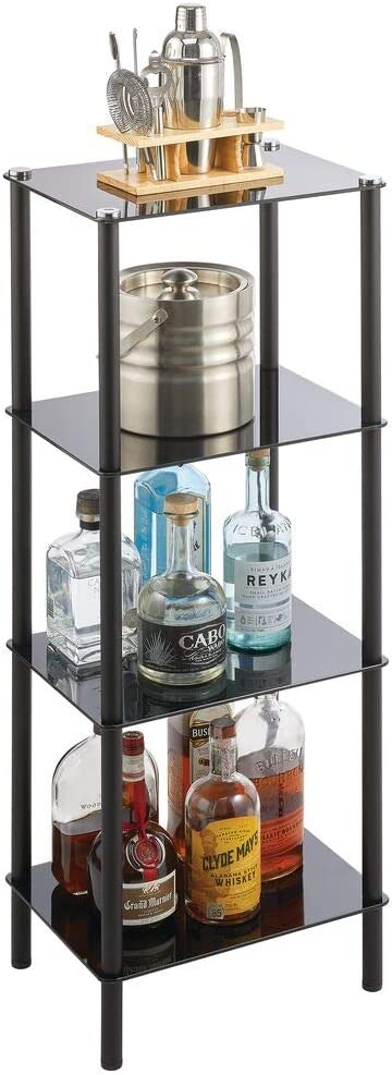mDesign Household Floor Storage Rectangular Tower, 4 Tier Open Glass Shelves - Compact Shelving Display Unit - Multi-Use Home Organizer for Bath, Office, Bedroom, Living Room - Black/Black