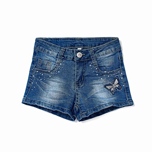 ISPED Girls Jean Shorts for Teen Girls Ripped Girls Shorts Summer Floral Embroided Denim Jean Shorts Size 8Y (Girls Denim Shorts)
