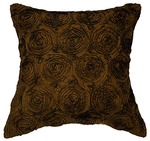 Avarada 16x16 Inch (40x40 cm) Solid Floral Bouquet Decorative Throw Pillow Case Cushion Cover for Sofa Couch Chair Bed Insert Not Included Zipper Deep Brown