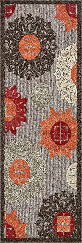 A2Z Rug Indoor/Outdoor Rug Brown 2' x 6' -Feet Runner Transitional Collection Area Rugs - Perfect for Outdoor Carpet from A2Z Rug