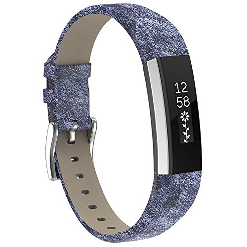 Henoda Replacemnt Leather Bands Compatible with Fitbit Alta/Fitbit Alta HR, Magic Silver Classic Genuine Leather Wristband, Small Large, No Tracker