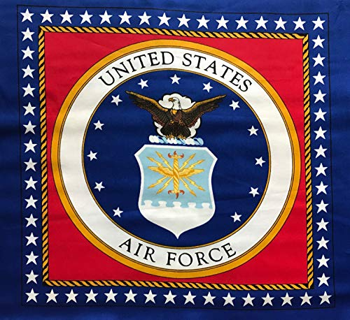 - U.S. Air Force Seal Cotton Pillow Panel - 2 Large Blocks (Great for Quilting, Sewing, Craft Projects, Pillow Cases or Throw Pillows) 17