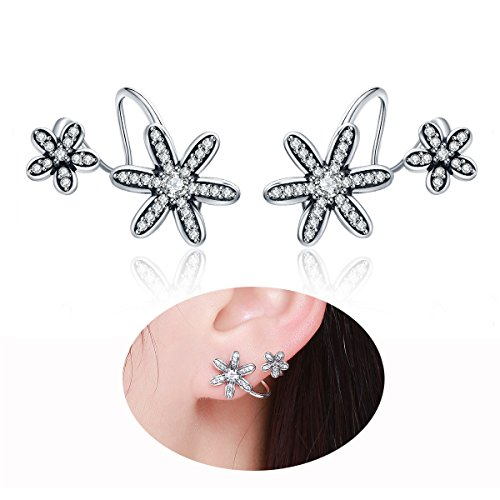 WOSTU 925 Sterling Silver Daisy Wrap Pin Earrings Ear Crawler Cuff Vine Climber Stud Earrings Womens - 925 Sterling Silver Pin