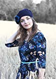 Custom Made Order In any Color - Knitted by Hand Pure Alpaca Beret Hat (Deepest Blue)