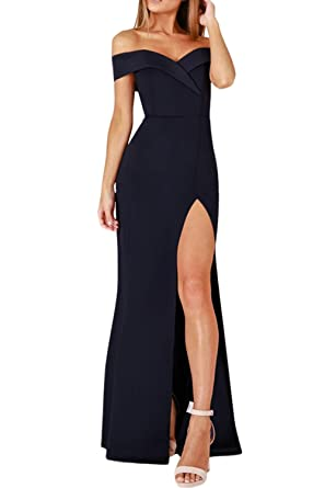 9fbcfcc7519 Happy Sailed Womens Sexy One Shoulder Bodycon Gown Side Split Evening Party  Dress S-L