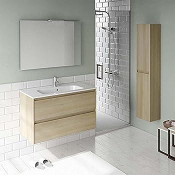 Ambra 60 Wall Mounted Bathroom Vanity Unit in Nordic Oak