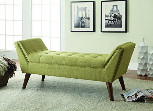 Coaster Mid-Century Modern Light Green Upholstered Accent Bench
