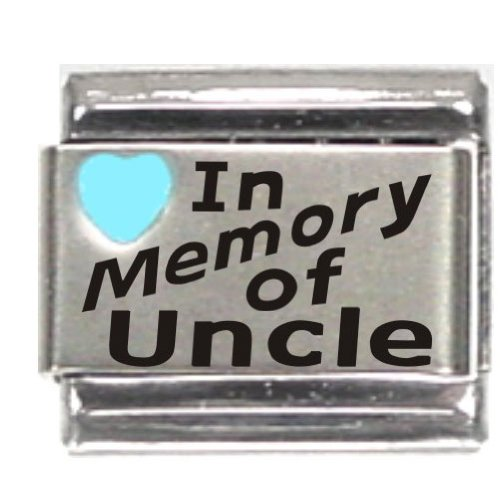 In Memory Of Uncle Light Blue Heart Laser Italian Charm