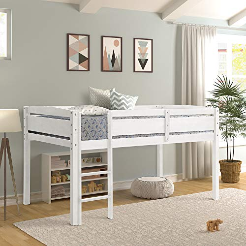 Twin Loft Bed for Kids, Low Loft Bed Frame with Ladder Wood,Twin,White