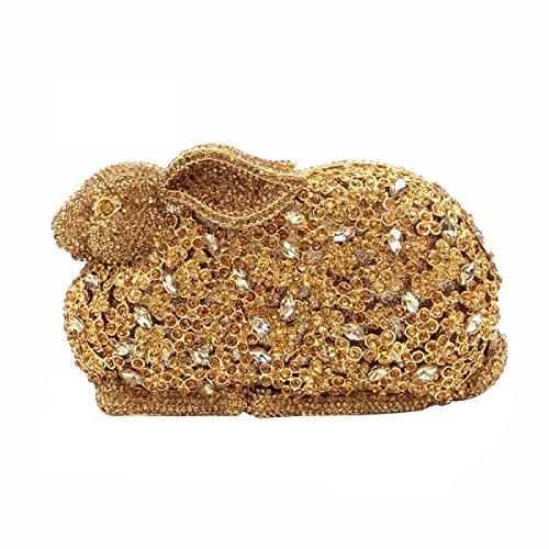 Las Mujeres Embrague Monederos Pedrería De Cristal La Tarde Del Embrague Bolsas De Conejo Gold