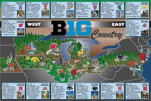Big Ten Map - Big Ten Conference College Map/Poster - B1G Size (24