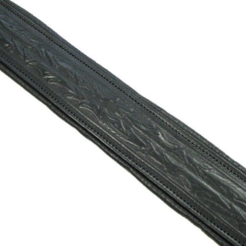 Tooled Leather Padded Banjo Strap Made In USA - Black