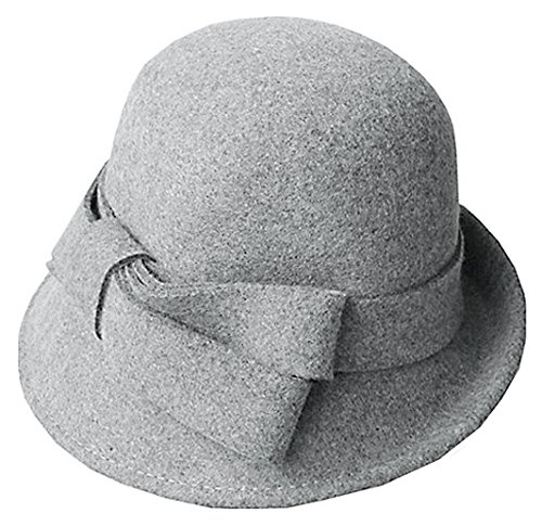 Women Solid Color Winter Hat Wool Cloche Bucket with Bow Accent,Grey, One -