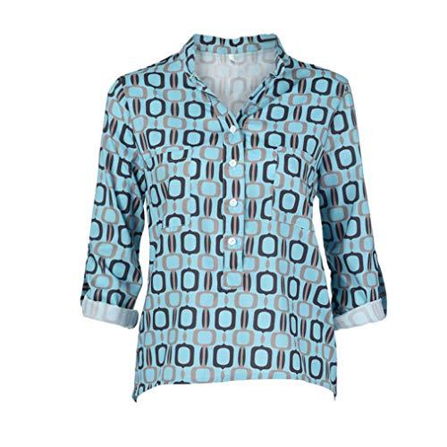 pour Imprim en Haut Femme Encolure Manches De Bleu Longues Et LULIKA V Chemise GOmTrique HgqwzYPP