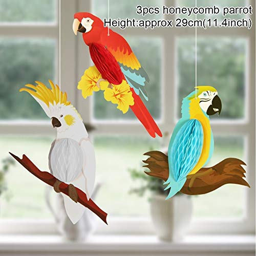 SW.DECORATION Party Hanging PaperSW.Decoration 3pcs Vivid Honeycomb Parrots for Hawaiian Beach Pool Luau Tropical Summer Kids Birthday Supplies
