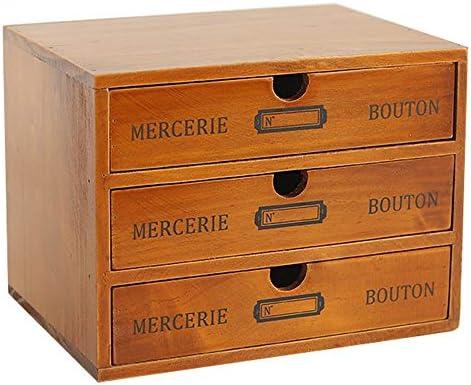 Baffect Caja de Almacenamiento Desktop con cajones de Madera Cajón Vintage de 3 Pisos en la Mesa Joyero Caja de Madera con cajón Organizador de Madera para Almacenamiento, 3 Pisos: Amazon.es: Hogar