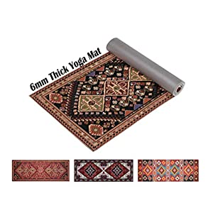 "Ananda Premium Print Yoga Mat | 6mm Extra Thick 72"" Long Non Slip Workout & Fitness Mat with Carrying Strap for Yoga, Pilates & Floor Exercises"