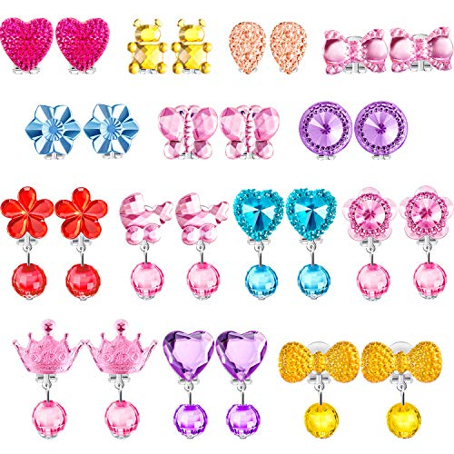 TOODOO 14 Pairs Clip-on Earrings Girls Play Earrings for Party Favor, All Packed in 2 Clear Boxes (Style 2)