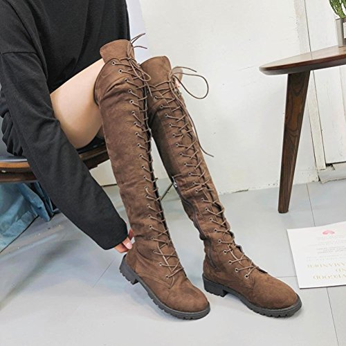 Strappy Motorcycle Boots Women Stretch Faux Slim High Boots Over The Knee Boots Suede Flat Shoes (US:8, Brown) ()