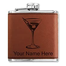 Personalized Faux Leather Flask - Martini Glass - Laser Engraved for Free